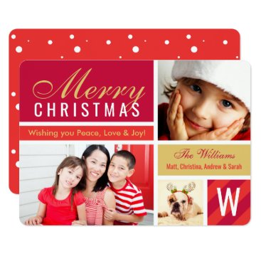 Christmas Themed Merry Christmas | Red Photo Card Collage