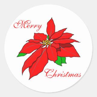 Merry Christmas Red Poinsettia Bloom on White Round Sticker