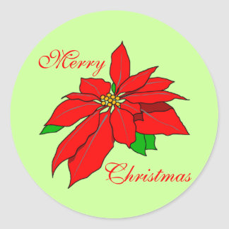 Merry Christmas Red Poinsettia Green Simple Stickers