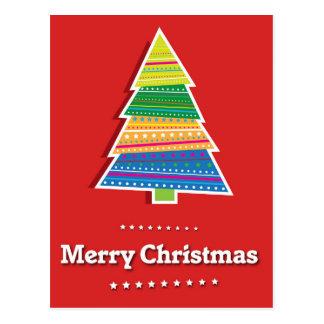 merry christmas red postcard christmas tree