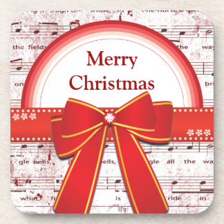 Merry Christmas red ribbon notes coaster