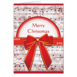 Merry Christmas red ribbon notes greeting card