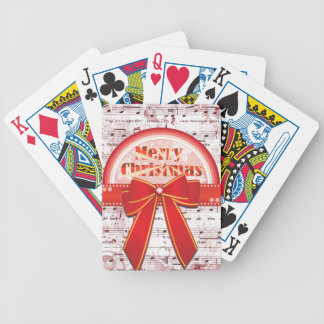 Merry Christmas red ribbon notes playing cards