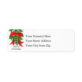 Merry Christmas Red Ribbon on Pine Bough Label