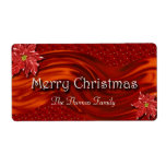 Merry Christmas Red Ribbon Poinsettia Wine Label