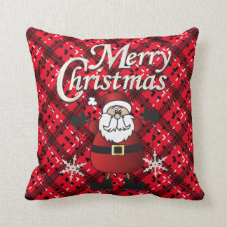 Merry Christmas Red Santa Claus Throw Pillow