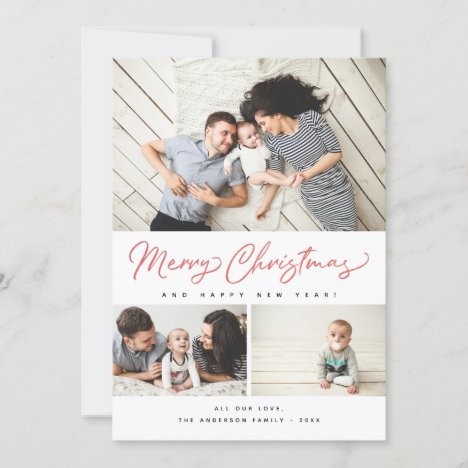 Merry Christmas Red Script 3 Collage Multi-Photo Holiday Card
