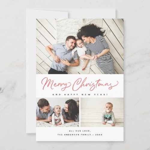 Merry Christmas Red Script 3 Collage Multi_Photo Holiday Card