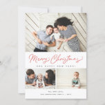 """Merry Christmas Red Script 3 Collage Multi-Photo Holiday Card<br><div class=""""desc"""">Featuring modern brush script in red with 3 of your photos. Comes with a photo on the back as well.</div>"""