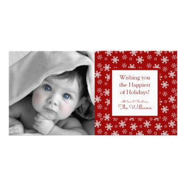 Beach Themed Merry Christmas | Red Snowflakes Card