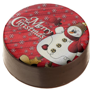 Merry Christmas Red Snowman Chocolate Dipped Oreo
