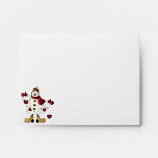 Merry Christmas Red Snowman Envelope