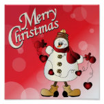 Merry Christmas Red Snowman Poster
