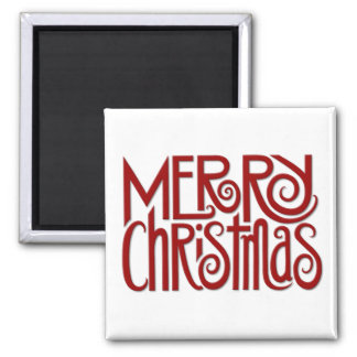 Merry Christmas red Square Magnet