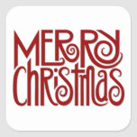 Merry Christmas red Square Sticker