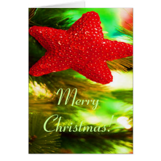 Merry Christmas Red Star Greeting Card