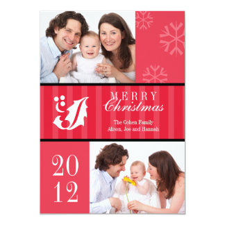 Merry Christmas red stripes holly leaf photo card