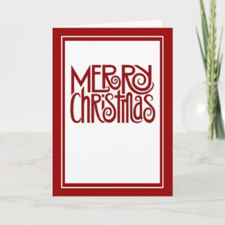 Merry Christmas red text Card