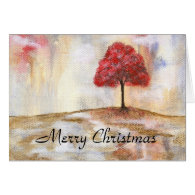 Merry Christmas Red Tree Abstract Landscape Art Greeting Card