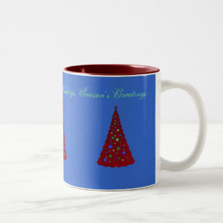 Merry Christmas, red trees on blue Two-Tone Coffee Mug