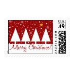 Merry Christmas Red Trees Postage