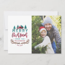Merry Christmas Red Vintage Truck Tree Farm Photo Holiday Card