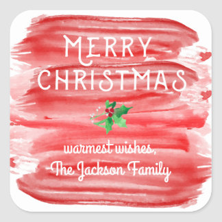 Merry Christmas Red Watercolor Holly Custom Square Sticker