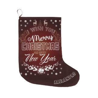 Merry Christmas red White cool gift design Large Christmas Stocking