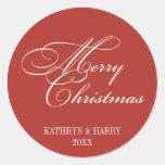 Merry Christmas red white elegant holiday gift tag Round Sticker