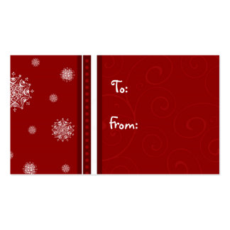 Merry Christmas Red White Snowflakes Gift Tags Business Card