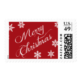 Merry Christmas Red White Snowflakes Postage Stamp