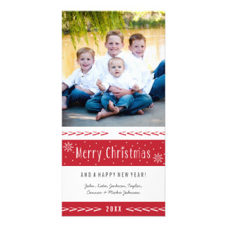 Merry Christmas Red White Stripes Photo Card