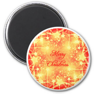 Merry Christmas Red Yellow Stars Streamers Magnet