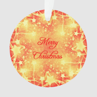 Merry Christmas Red Yellow Stars Streamers Ornament