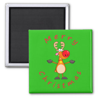 Merry Christmas Reindeer 2 Inch Square Magnet