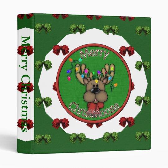 Merry Christmas Reindeer 3 Ring Binder