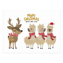 Merry Christmas | Reindeer & Alpacas Postcard