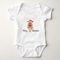 Merry Christmas Reindeer Baby Bodysuit