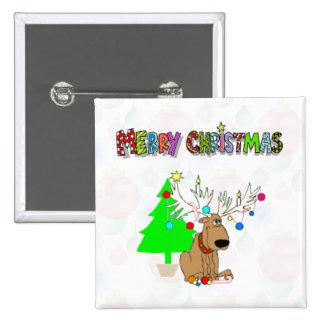 Merry Christmas Reindeer Button