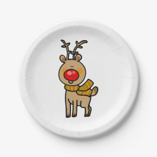Merry Christmas reindeer cartoon Paper Plate