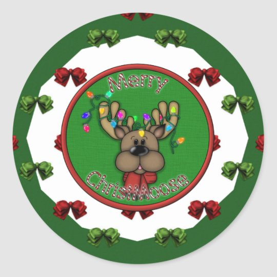 Merry Christmas Reindeer Classic Round Sticker