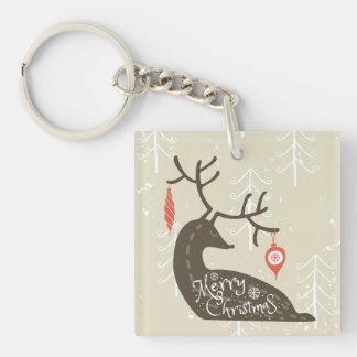 Merry Christmas Reindeer Cozy Keychain