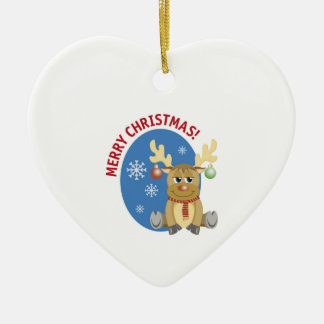 Merry Christmas Reindeer Heart Ornament