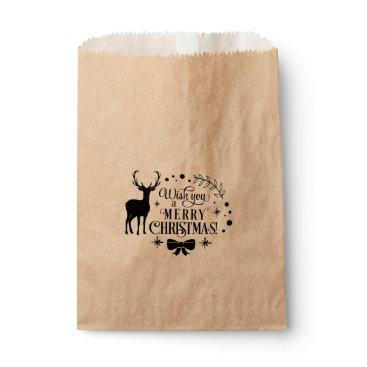 USA Themed MERRY CHRISTMAS Reindeer Holiday Favor Treat Favor Bag