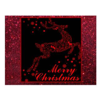 Merry Christmas Reindeer in Red Postcard