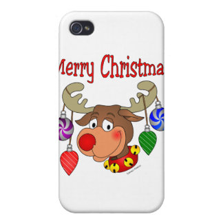 Merry Christmas Reindeer Ornaments Cover For iPhone 4