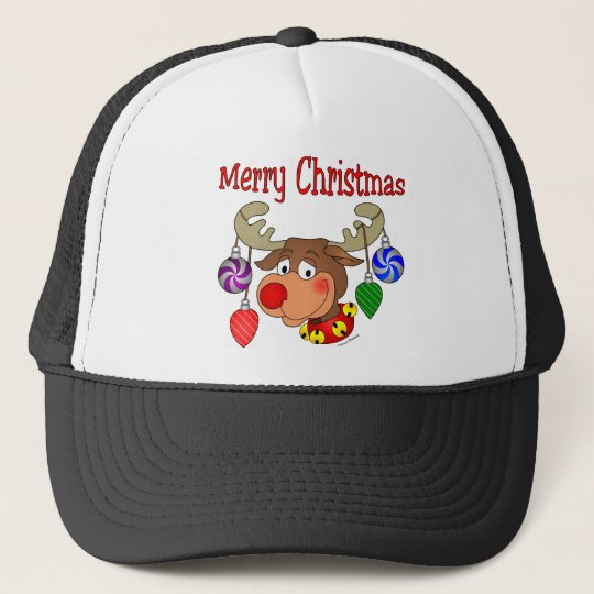 Merry Christmas Reindeer Ornaments Trucker Hat