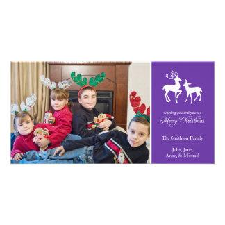 Merry Christmas Reindeer Photo Cards (Purple)