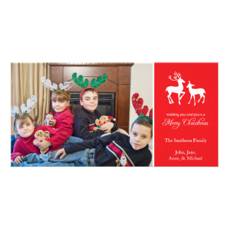 Merry Christmas Reindeer Photo Cards (Red)