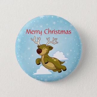 Merry Christmas Reindeer Pinback Button